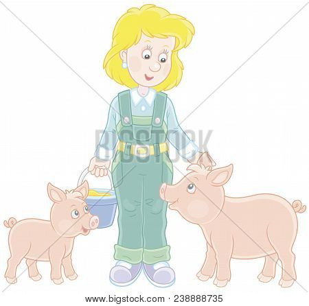 Friendly Smiling Farm Workwoman Feeding Funny Pink Piglets, Vector Illustration In A Cartoon Style