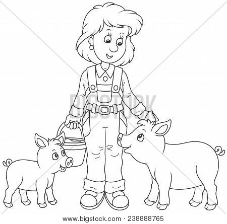 Friendly Smiling Farm Workwoman Feeding Funny Piglets, Black And White Vector Illustration In A Cart