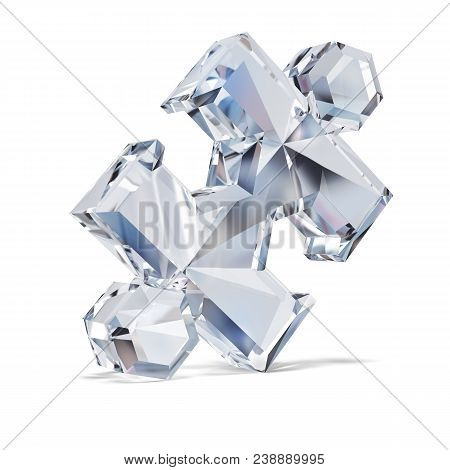 Big Diamond Puzzle. 3d Image. White Background.