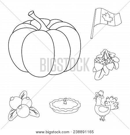 Canada Thanksgiving Day Outline Icons In Set Collection For Design. Canada And Tradition Vector Symb