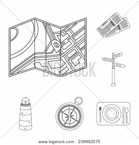 Rest And Travel Outline Icons In Set Collection For Design. Transport, Tourism Vector Symbol Stock