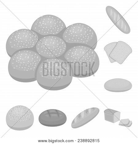 Types Of Bread Monochrome Icons In Set Collection For Design. Bakery Products Vector Symbol Stock  I
