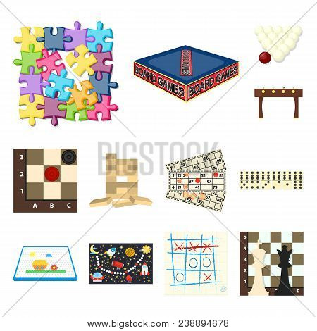 Board Game Cartoon Icons In Set Collection For Design. Game And Entertainment Vector Symbol Stock Il