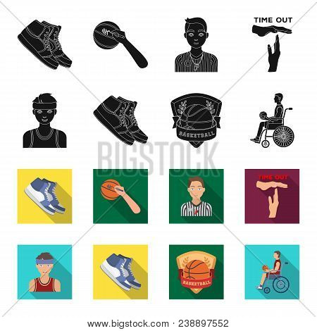 Basketball And Attributes Black, Flet Icons In Set Collection For Design.basketball Player And Equip