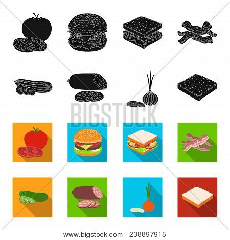 Burger And Ingredients Black, Flet Icons In Set Collection For Design. Burger Cooking Vector Symbol