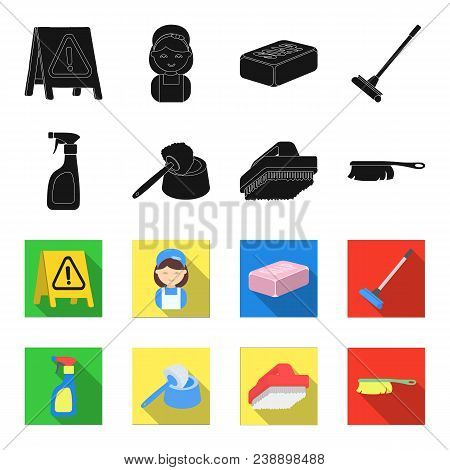 Cleaning And Maid Black, Flet Icons In Set Collection For Design. Equipment For Cleaning Vector Symb