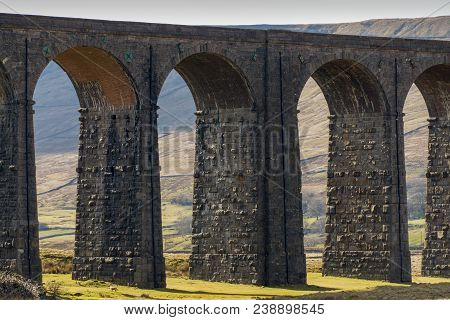 A Close View Of The Arches Of The Ribblehead Viaduct, A Well Known Landmark On The Settle-carlisle R