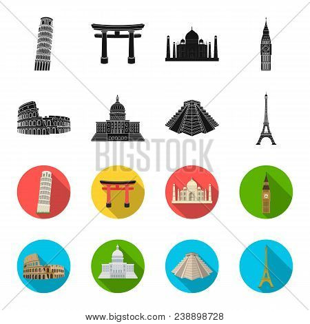 Sights Of Different Countries Black, Flet Icons In Set Collection For Design. Famous Building Vector