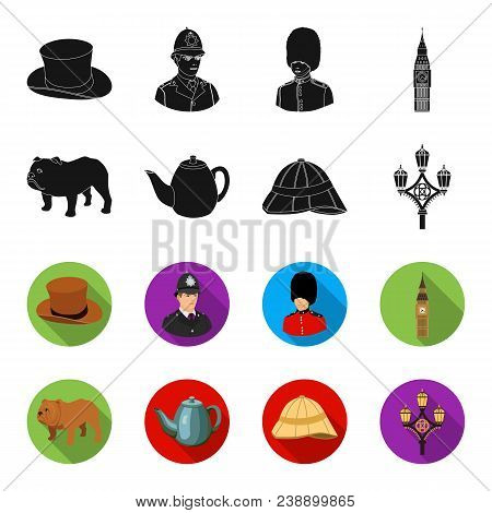 Breed Dog, Teapot, Brewer .england Country Set Collection Icons In Black, Flet Style Vector Symbol S