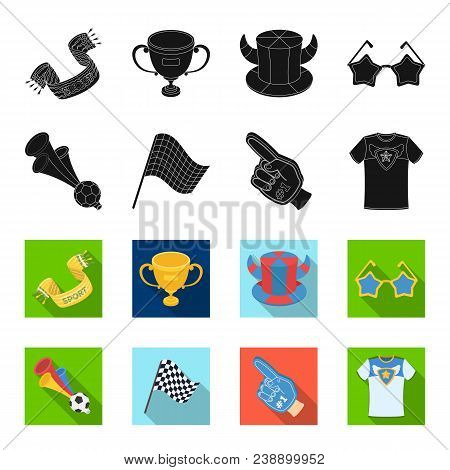 Pipe, Uniform And Other Attributes Of The Fans.fans Set Collection Icons In Black, Flet Style Vector