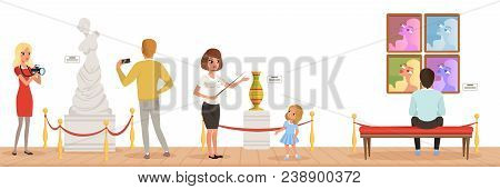 Museum visitors looking at classical work of art, museum guide telling girl about exhibits, people attending museum horizontal vector Illustration in flat style poster