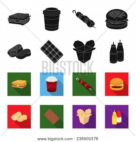 Chocolate, Noodles, Nuggets, Sauce.fast Food Set Collection Icons In Black, Flet Style Vector Symbol