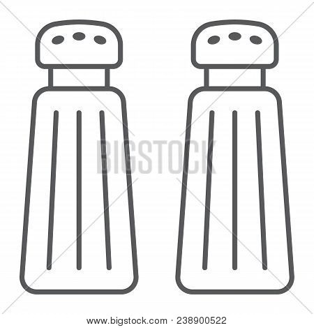 Salt And Pepper Shaker Thin Line Icon, Kitchen And Cooking, Spice Sign Vector Graphics, A Linear Pat