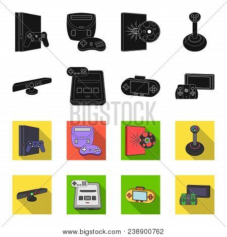 Game And Tv Set-top Box Black, Flet Icons In Set Collection For Design.game Gadgets Vector Symbol St