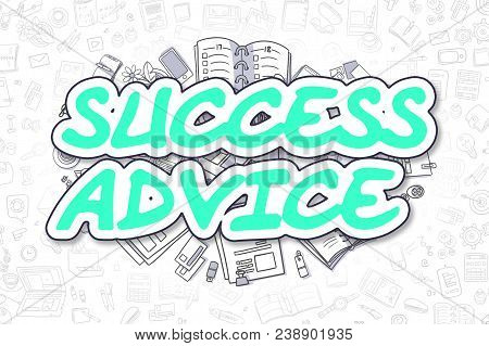 Green Word - Success Advice. Business Concept With Cartoon Icons. Success Advice - Hand Drawn Illust