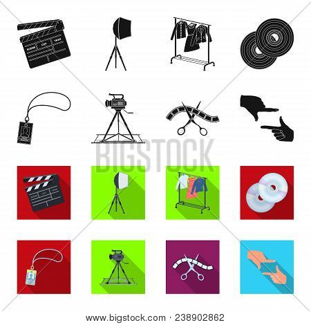 Badge, Operator Gesture And Other Accessories For The Movie. Making Movie Set Collection Icons In Bl