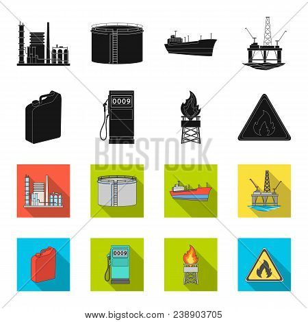 Canister For Gasoline, Gas Station, Tower, Warning Sign. Oil Set Collection Icons In Black, Flet Sty