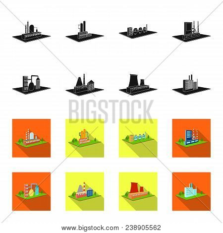Processing Factory, Metallurgical Plant. Factory And Industry Set Collection Icons In Black, Flet St