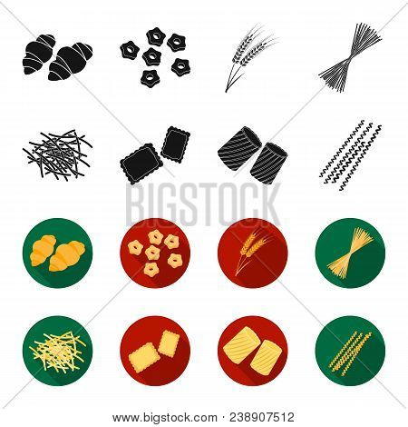 Different Types Of Pasta. Types Of Pasta Set Collection Icons In Black, Flet Style Vector Symbol Sto