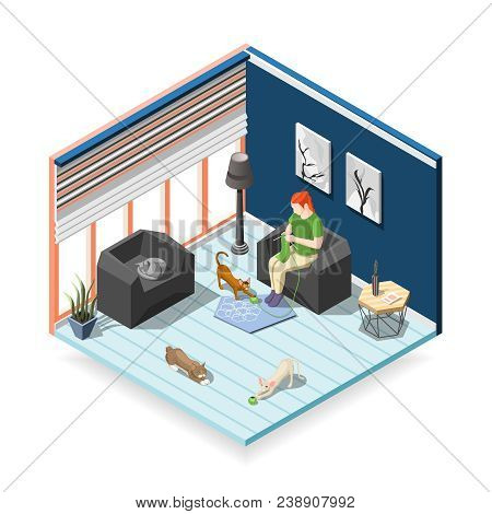 Woman During Knitting With Cats, Home Interior, Isometric Composition Ordinary Life Of Man And Pets