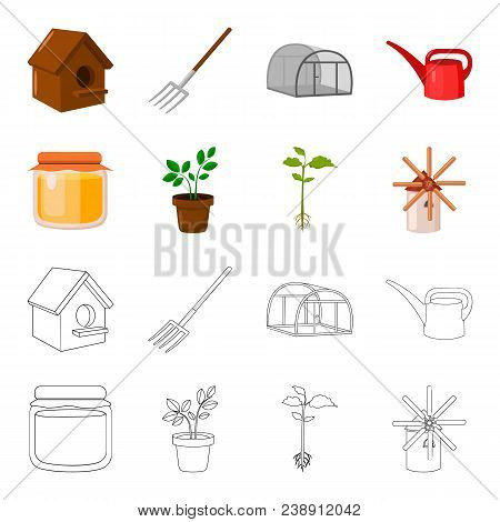 Honey Bank, Plant, Mill.farm Set Collection Icons In Cartoon, Outline Style Vector Symbol Stock Illu