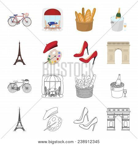 Eiffel Tower, Brush, Hat .france Country Set Collection Icons In Cartoon, Outline Style Vector Symbo