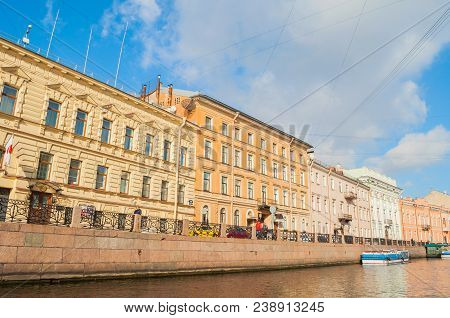 St Petersburg, Russia-october 3, 2016. Historic Buldings Along The Moika River Embankment In Sunny D