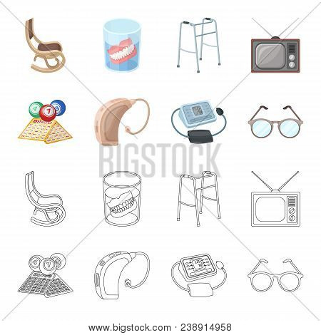 Lottery, Hearing Aid, Tonometer, Glasses.old Age Set Collection Icons In Cartoon, Outline Style Vect