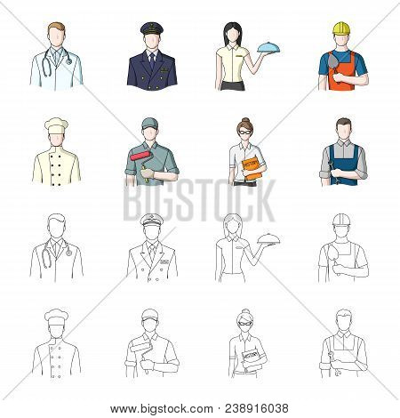 Cook, Painter, Teacher, Locksmith Mechanic.profession Set Collection Icons In Cartoon, Outline Style