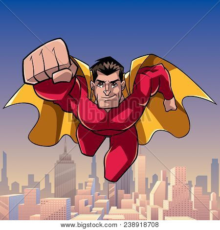 Front View Full Length Illustration Of Determined And Powerful Superhero Wearing Cape And Red Costum