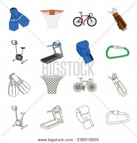 Exercise Bike, Treadmill, Glove Boxer, Lock. Sport Set Collection Icons In Cartoon, Outline Style Ve