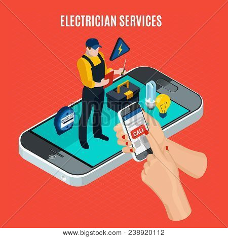 Electricity Isometric Red Composition With Electrician Services Description And Call A Professional