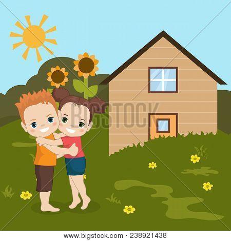 Boy And Girl Huging.
