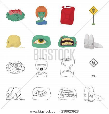 Zombies And Attributes Cartoon, Outline Icons In Set Collection For Design. Dead Man Vector Symbol S