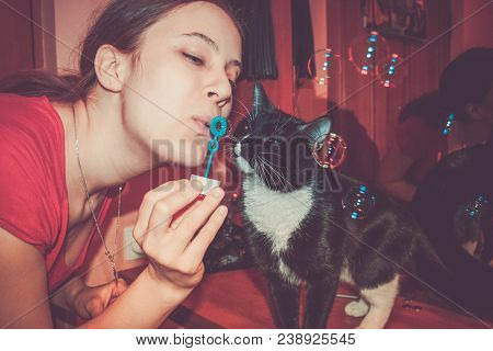 Close-up Girl Blowing Soap Bubbles And Curious Black And White Cat Interested In Them. Retro Toned I
