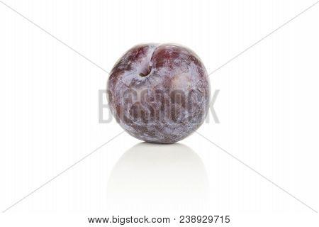 One Red Blue Plum Isolated On White Background Round Whole Fresh Juicy Fruit