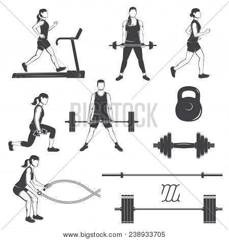 Set Of Fitness Girls With Fitness Equipments Silhouette. Runing On The Treadmill Machine, Working Ou