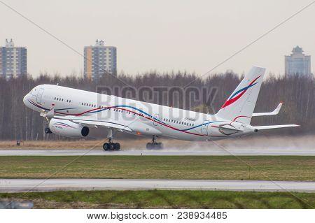 Tu-204 Tupolev Lukoil Airlines Take Off, Airport Pulkovo, Russia Saint-petersburg 29 April, 2017