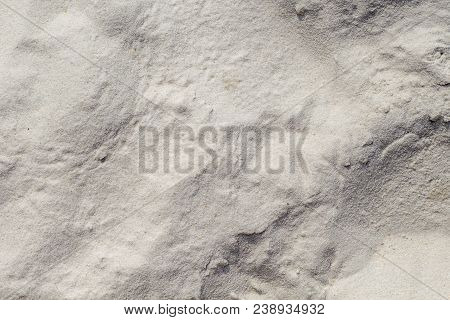 White Sand Background. Friable Coral Sand Beach Texture. Tropical Beach Photo Background. Exotic Isl
