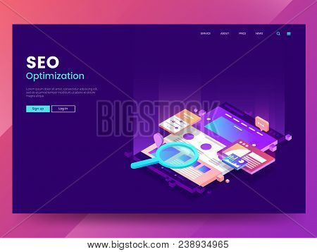 Seo Optimization Web Page Template. Isometric Web Interface With Different App. Colorful Website Ill