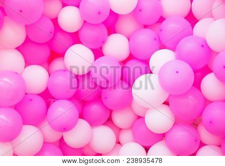 Air Balloons Background. Pink Airballoons Texture. Girl Birthday Or Romantic Wedding Photo Backdrop.