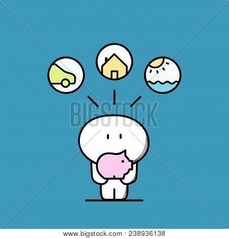 Cute Funny Man With Piggy Bank Or Money Box, Car, House, Sun And Sea Symbol. Savings And Save Money,