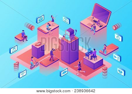 Chatbot Service Isometric Illustration With Modern Hipster People Communicating By Gadgets, Smartpho
