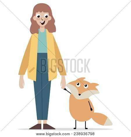 Young Girl With Cute Animal, Stand On White Background. Fox. Concept Of Protection Of Animal, The Zo