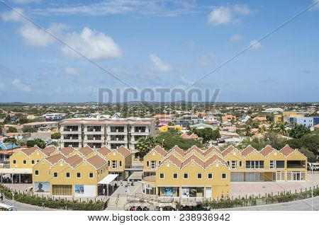 Kralendijk, Bonaire - April 12, 2018: View Of Kralendijk From A Cruise Ship Docked At The Port On A