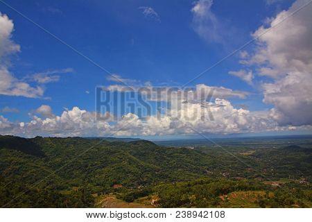 Panoramic Panguk Hill Located At Bantul, Yogyakarta, Indonesia.