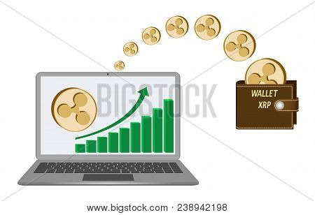 Transfer Ripple Coins From Laptop In The Wallet On A White Background,growth Diagram With Coin Of Ri