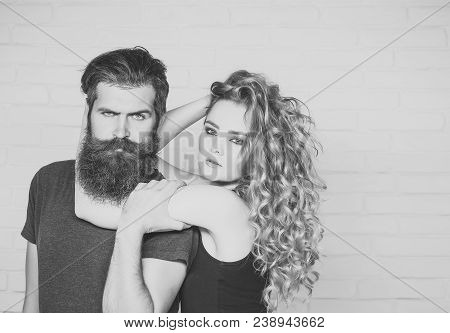 Girl And Bearded Hipster. Hipsterism, Subculture, Trend. Fashion, Beauty, Style Concept. Man With Be