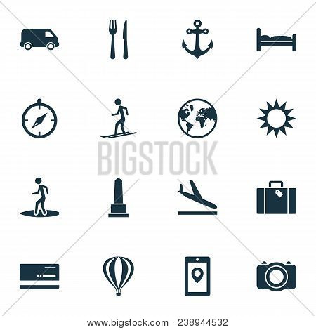 Journey Icons Set With Aircraft, Skier, Monument And Other Camera Elements. Isolated Vector Illustra