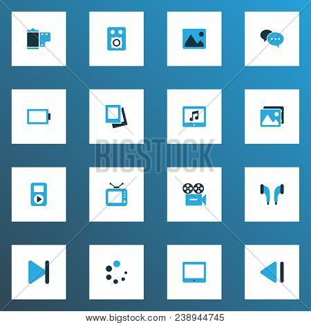 Multimedia Icons Colored Set With Image, End, Slow Backward And Other Picture Elements. Isolated Vec